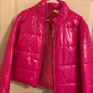 Brand new hot pink puff jacket